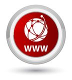 WWW (global network icon) prime red round button. WWW (global network icon) isolated on prime red round button abstract illustration Stock Photos