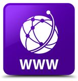 WWW (global network icon) purple square button. WWW (global network icon) isolated on purple square button abstract illustration Stock Images
