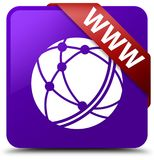 WWW (global network icon) purple square button red ribbon in cor Royalty Free Stock Photography