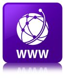 WWW (global network icon) purple square button. WWW (global network icon) isolated on purple square button reflected abstract illustration Stock Images