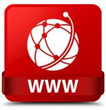 WWW (global network icon) red square button red ribbon in middle. WWW (global network icon) isolated on red square button with red ribbon in middle abstract Royalty Free Stock Photos