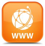 WWW (global network icon) special orange square button. WWW (global network icon) isolated on special orange square button abstract illustration Royalty Free Stock Photos