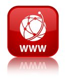 WWW (global network icon) special red square button. WWW (global network icon) isolated on special red square button reflected abstract illustration Stock Images