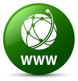 WWW (globalnej sieci ikona) zieleń round guzik Obrazy Royalty Free