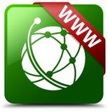WWW globalnej sieci ikony zieleni kwadrata guzik Fotografia Stock