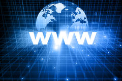 Www with globe. 3d render of www with globe on blue background Royalty Free Stock Photo