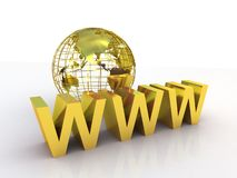 WWW and globe gold, 3D Royalty Free Stock Photography