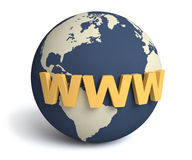 Www & globe / internet concept. 3D illustration: World Wide Web and the globe royalty free illustration