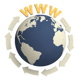 Www & globe / internet concept. 3D illustration: World Wide Web and arrows around of globe stock illustration