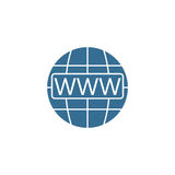 Www and globe internet flat icon, Website browser. Vector graphics, a colorful filled pattern on a white background, eps 10 Royalty Free Stock Photo