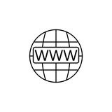 Www and globe internet line icon, Website browser Stock Images