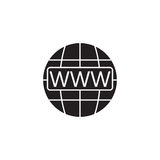 Www and globe internet solid icon, Website browser Stock Photos