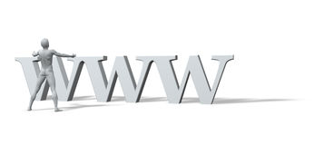 Www is the god. Sculpture - man with open arms and the letters www - 3d illustration Stock Images
