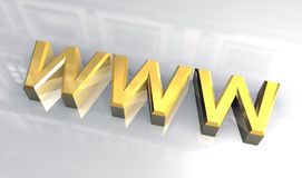 WWW in gold (3D) Stock Photography