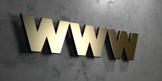 Www - Gold sign mounted on glossy marble wall  - 3D rendered royalty free stock illustration Stock Photography