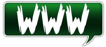 WWW on green dialogue word balloon. Illustration Stock Photos