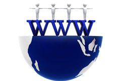 Www on half globe in white isolated area Stock Image