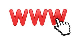 WWW with Hand Cursor. Internet Concept. Stock Photography