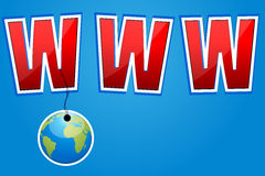Www with hanging globe Royalty Free Stock Photo