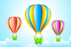 WWW Hanging from Hot Air Balloon Royalty Free Stock Images