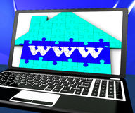 WWW On House On Laptop Showing Online Real Estates Royalty Free Stock Photo