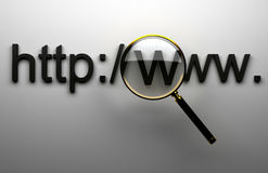 WWW http. 3d web adress and magnifying lens Royalty Free Stock Photos