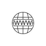 Www i kula ziemska internet wykładamy ikonę, strony internetowej wyszukiwarka royalty ilustracja