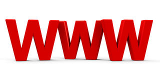 WWW icon. Red WWW symbol, icons or button isolated on white background, three-dimensional rendering, 3D illustration Stock Images