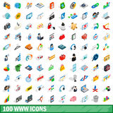 100 www icons set, isometric 3d style Royalty Free Stock Image