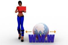 WWW-Illustration der Frauen 3d Stockbilder