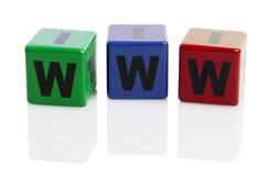 WWW imprimió en bloques huecos del alfabeto Imagen de archivo