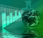 WWW - Internet 3D Reflection. World Wide Web - Internet Illustration with Globe, html, code, and graph 3d Reflected in Water stock illustration