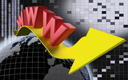 Www internet concept with yellow arrow Stock Image