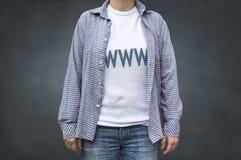 WWW internet surfer t shirt. WWW internet surfer t-shirt. Fashion stylish print sport wear Royalty Free Stock Image