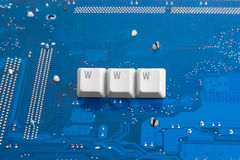 WWW Internet technology. Internet technology: WWW sign on circuit blue background Stock Images
