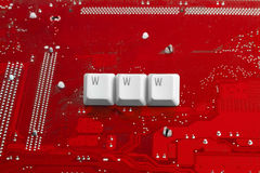 WWW Internet technology. Internet technology: WWW sign on circuit red background Royalty Free Stock Photos