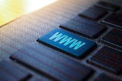 WWW keyword on keyboard. WWW keyword concept on computer keyboard technology background macro shot stock illustration