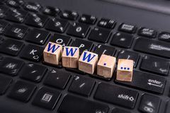 Www on laptop. Wooden block with www word graphic on laptop keyboard Royalty Free Stock Photography