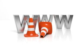 WWW letters and orange traffic cones Royalty Free Stock Photography