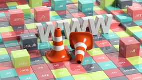 WWW letters, traffic cones and cubes Stock Photo