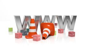 WWW letters, traffic cones and cubes Royalty Free Stock Photo