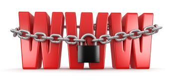 WWW and lock (clipping path included) Royalty Free Stock Photos