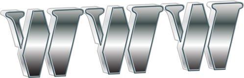 WWW-metallischer Text Lizenzfreie Stockbilder