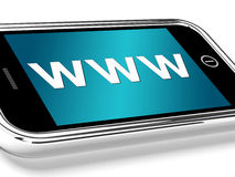 WWW montre les sites Web en ligne ou l'Internet mobile Image libre de droits