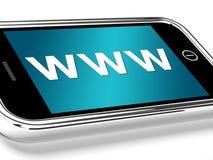 WWW muestra los Web site en línea o Internet móvil Imagen de archivo libre de regalías