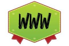 WWW na zielonej odznace z czerwonymi faborkami Fotografia Stock