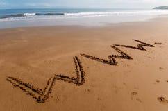Www op het zand royalty-vrije stock fotografie