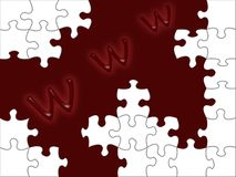 Www puzzle. Illustration www puzzle. White pieces on red background Royalty Free Stock Image