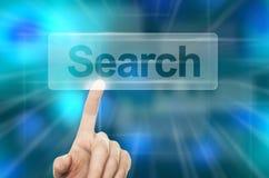 WWW que procura o conceito Botão da busca da pressão de mão Foto de Stock