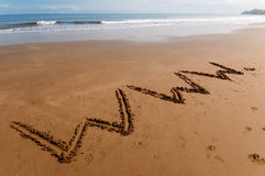 Www on the sand. World wide web written on the sand Royalty Free Stock Photography